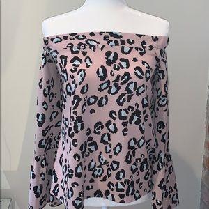 Cheetah print off the shoulder bell sleeve top